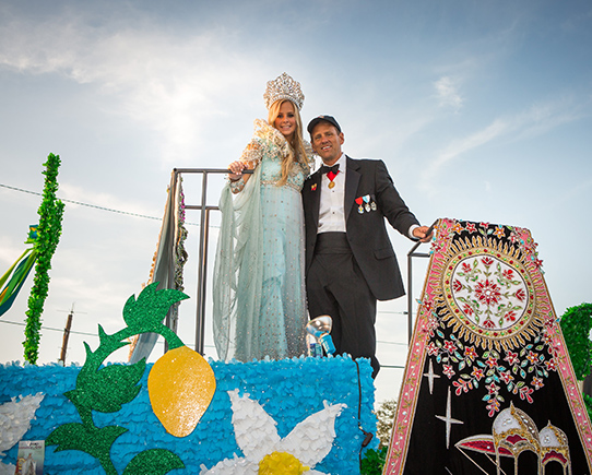 Princess and Father on float
